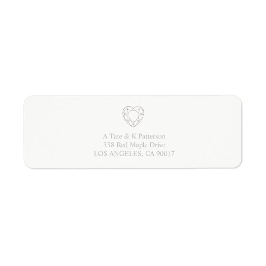 銀製の幾何学的なハートの差出人住所ラベル 返信用宛名ラベル