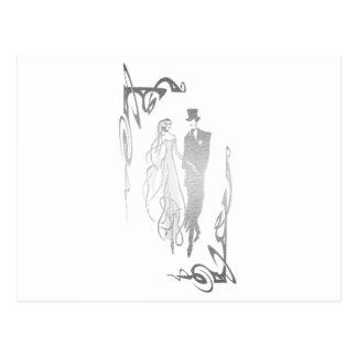 銀製の新郎新婦の芸術 ポストカード