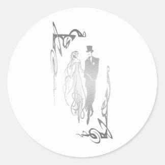 銀製の新郎新婦の芸術 ラウンドシール