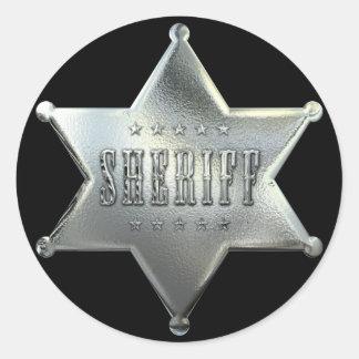 銀製の星の保安官のバッジ ラウンドシール