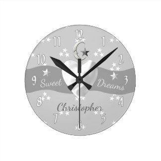 銀製の星及び月の時計の子供部屋の装飾 ウォールクロック