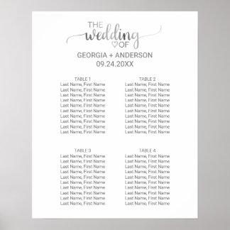 銀製の書道の小さい結婚式の座席の図表 プリント