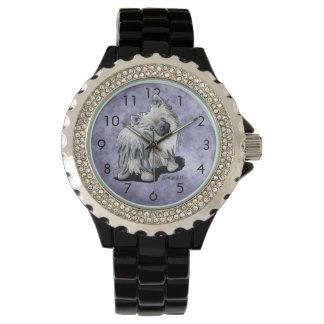 銀製の月のポメラニア犬の腕時計 腕時計