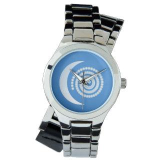 銀製の月の螺線形 腕時計