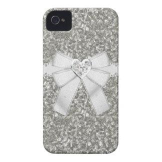 銀製の模造のなグリッター及びハートの宝石のiPhone 4/4Sの場合 Case-Mate iPhone 4 ケース
