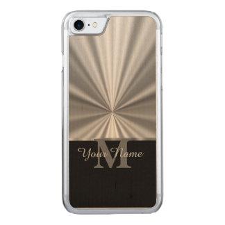 銀製の模造のな金属黒いモノグラム CARVED iPhone 8/7 ケース