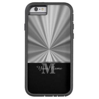 銀製の模造のな金属黒いモノグラム TOUGH XTREME iPhone 6 ケース