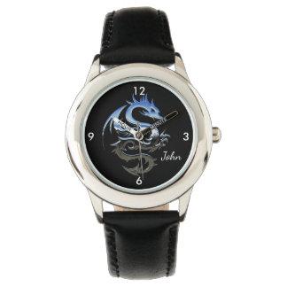銀製の火のドラゴン 腕時計