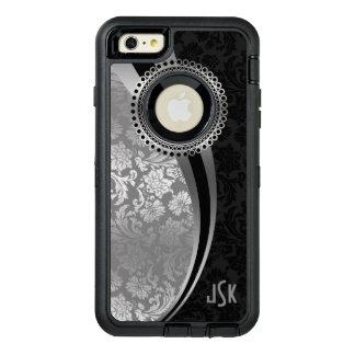 銀製の灰色及び黒のダマスク織の幾何学的設計 オッターボックスディフェンダーiPhoneケース