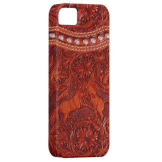 銀製の玉が付くiphoneの場合を持つ革ムスタング iPhone SE/5/5s ケース