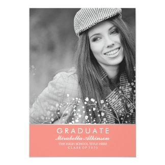 銀製の珊瑚-写真の卒業パーティーの発表 12.7 X 17.8 インビテーションカード