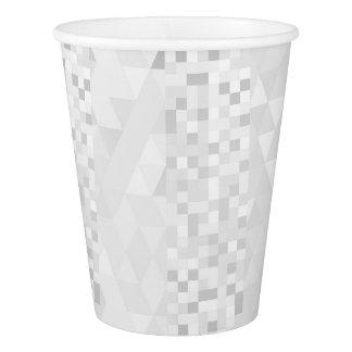 銀製の白い灰色の幾何学的なダイヤモンドの正方形 紙コップ