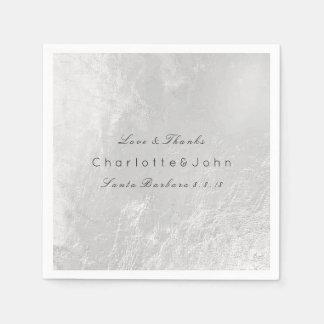 銀製の白い灰色の金属ミニマルな結婚披露宴 スタンダードカクテルナプキン