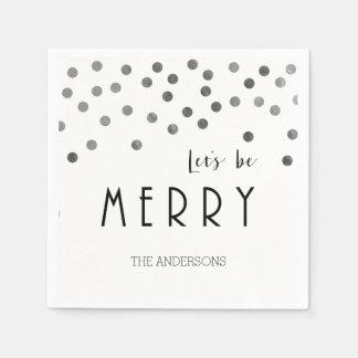 銀製の紙吹雪のクリスマスのナプキン スタンダードカクテルナプキン
