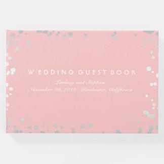 銀製の紙吹雪のピンクの赤面のエレガントな結婚式 ゲストブック