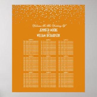銀製の紙吹雪はオレンジ結婚式の座席の図表に点を打ちます ポスター