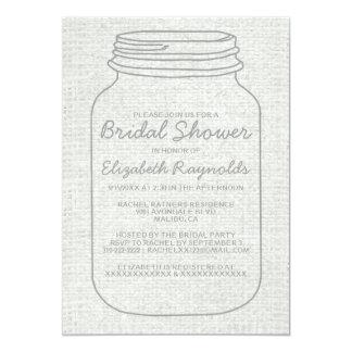 銀製の素朴なメーソンジャーのブライダルシャワー招待状 カード