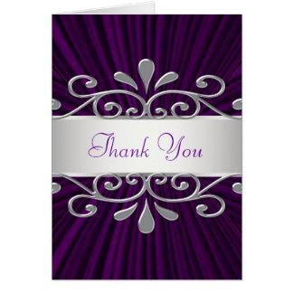 銀製の紫色のビロードの紫色のサンキューカード ノートカード