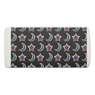 銀製の紫色のブルースターおよび月パターン黒 消しゴム
