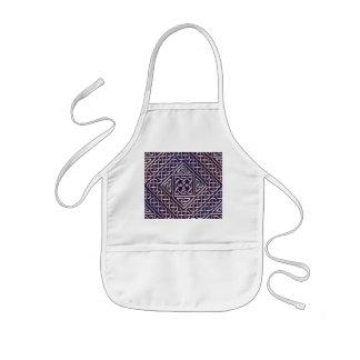 銀製の紫色の正方形はケルト結び目模様パターンを形づけます 子供用エプロン
