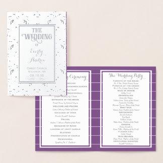 銀製の紫色ホイルのヴィンテージのダマスク織の結婚式プログラム 箔カード