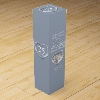 銀製の結婚記念日のハートの写真のワイン箱 ワインギフトボックス