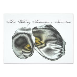 銀製の結婚記念日の招待状カード カード