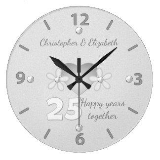 銀製の結婚記念日の時計 ラージ壁時計