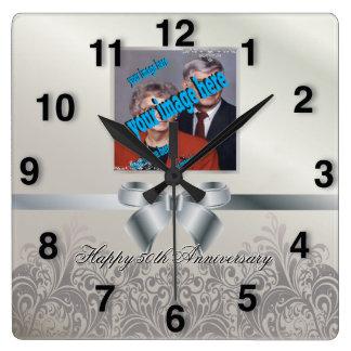 銀製の結婚記念日 スクエア壁時計