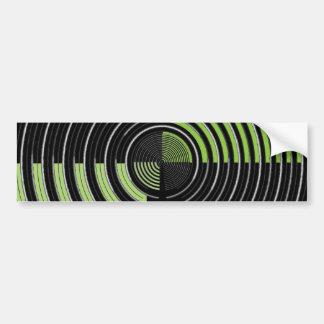 銀製の緑および黒い円の当惑パターン バンパーステッカー