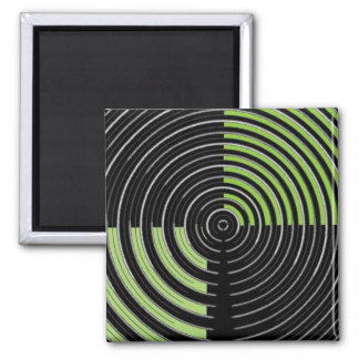 銀製の緑および黒い円の当惑パターン マグネット