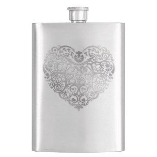 銀製の線条細工のハートのバレンタインのフラスコ フラスク