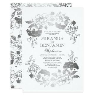 銀製の花のリースのエレガントな結婚記念日 カード