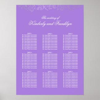 銀製の花の紫色の結婚式の座席の図表 プリント