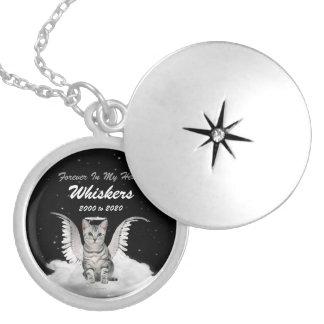 銀製の虎猫の天使猫ペット記念物 シルバープレートネックレス