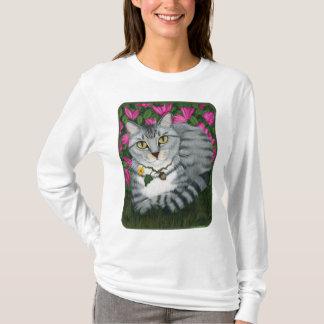 銀製の虎猫猫の庭猫のファンタジーの芸術のワイシャツ Tシャツ