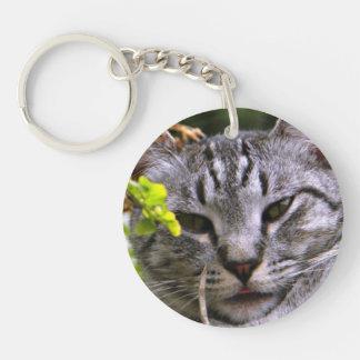 銀製の虎猫猫の顔Keychain キーホルダー