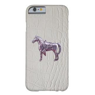 銀製の西部の馬のワニの革プリント iPhone 6 ベアリーゼアケース