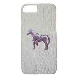 銀製の西部の馬のワニの革プリント iPhone 8/7ケース