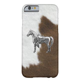 銀製の西部の馬牛皮のプリント BARELY THERE iPhone 6 ケース