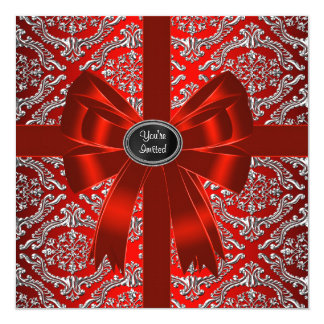 銀製の赤いダマスク織の企業のなクリスマス・パーティ 13.3 スクエアインビテーションカード