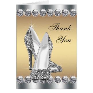 銀製の金ゴールドのハイヒールの靴のサンキューカード カード