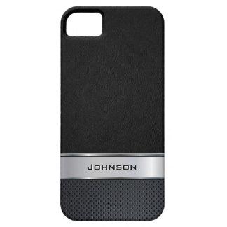 銀製の金属のラベルとのエレガントで黒いレザールック iPhone SE/5/5s ケース
