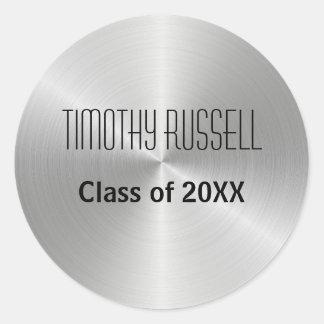 銀製の金属の輝やき-卒業のステッカー ラウンドシール