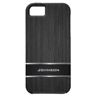 銀製の金属の革ラベル|との黒い木製の一見 iPhone SE/5/5s ケース