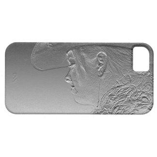 銀製の金属背景の女性のカーボーイ iPhone SE/5/5s ケース