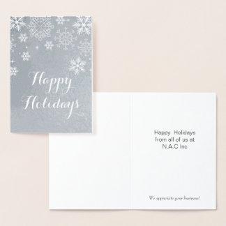 銀製の雪片の企業のな休日の挨拶 箔カード
