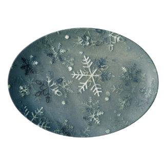 銀製の雪片の生地 磁器大皿