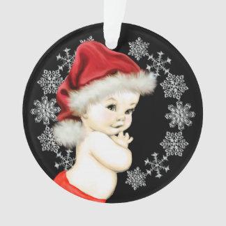 銀製の雪片の男の赤ちゃんの初めてのクリスマス オーナメント