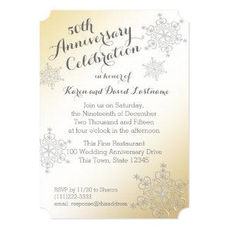 銀製の雪片の金第50結婚記念日 カード